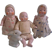 3 Darling German Candy Baby Dolls and their Pet Bunny c1920