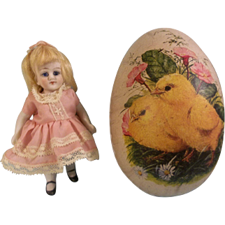 "Sweet 5"" All Bisque German Girl in Presentation Easter Egg"