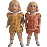 """Sweet Pair of Antique 3-3/4"""" German of All Bisque Twin Dolls in Crochet Outfits"""