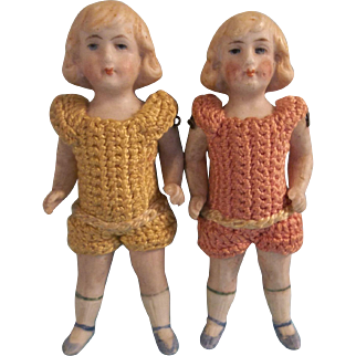 "Sweet Pair of Antique 3-3/4"" German of All Bisque Twin Dolls in Crochet Outfits"