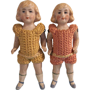 "Sweet Twin Antique 3-3/4"" German All Bisque Doll House Size Dolls in Crochet Outfits"