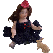 "All Bisque 3"" Doll with Boo Boo Foot and Pet Bunny Rabbit"
