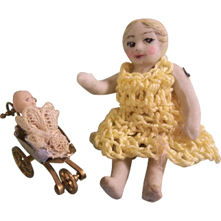 """Darling 2-3/16"""" Little All Bisque Girl with her Teeny Tiny 3/4"""" Frozen Baby Doll in Pram"""