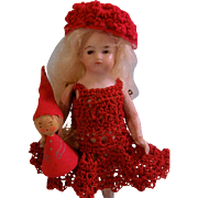 Lovely All Bisque German Doll with Red Crochet Dress and Wooden Doll