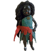 "Beautiful 3-1/2"" All Bisque German Black Doll with Glass Eyes and Boo Boo Ankle"