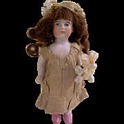 "Precious 4-1/2"" Antique German All Bisque Doll dressed as a Bride"