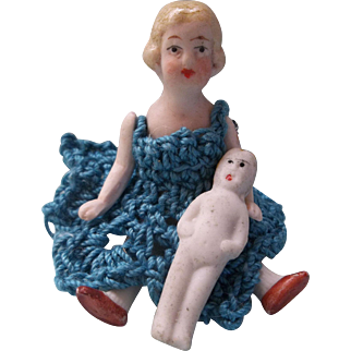 "Sweet 3"" German Limbach All Bisque Doll with her own 1-1/2"" Frozen Charlotte Doll"