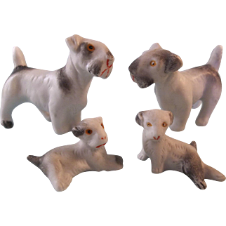 Darling Antique German All Bisque Terrier Dog Family
