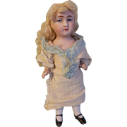 Precious Antique German All Bisque Doll in Child Made Dress