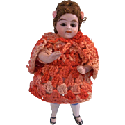 """Darling German Antique 3-1/2"""" All Bisque Doll with Glass Eyes in Spiffy Vintage Crocheted Outfit"""