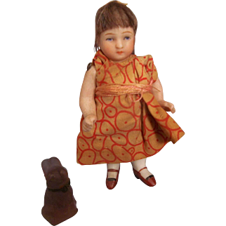 """Precious Antique 3"""" All Bisque Girl with Sweet Face"""