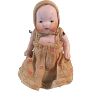 "Precious 2-1/2"" German Pink Tinted Bisque Candy Baby Doll"
