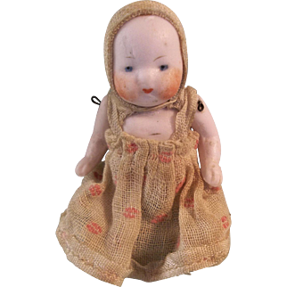 """Precious 2-1/2"""" German Pink Tinted Bisque Candy Baby Doll"""