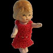 "Pretty Vintage 3-7/8"" All Bisque German Flapper Doll"