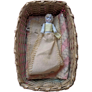 Antique All Bisque Pin Holder Doll in Basket.