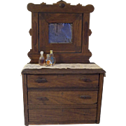 """15"""" Antique Doll Dresser with Lace Runner and 3 Perfume Bottles"""