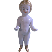 "Lovely 4-3/4"" Blond Frozen Charlotte Princess with Gold Tiara and Boots"