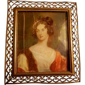 Gorgeous Framed Antique Dollhouse Painting of a Lovely Lady