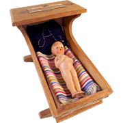 Vintage Wooden Cradle with Plastic Baby Doll