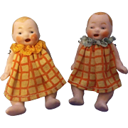 """Adorable Hertwig 2-3/8"""" All Original All Bisque Candy Baby Dolls with Open Mouths"""