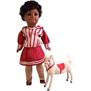 "Beautiful All Original 8-1/4"" Antique SFBJ 60 Mulatto Bisque Head Doll c1920 and Toy Pony - FINAL SALE!"