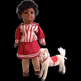 "Beautiful All Original 8-1/4"" Antique SFBJ 60 Mulatto Bisque Head Doll c1920 and Toy Pony"