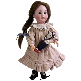 "Adorable 9"" Fully Jointed Antique Bisque Head Doll 220"