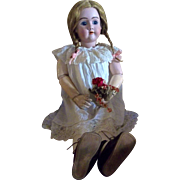 """Magnificent 32"""" Handwerk Bisque Head Doll with Pierced Ears and Composition Body"""