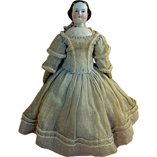"""Lovely 8"""" Primitive China Head Doll with Boo Boo neck"""