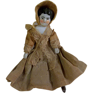 """Pretty 5"""" Dollhouse Size China Head Doll with Boo Boo Foot"""
