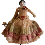 Pretty Low Brow China Head Doll wearing an Amazing Antique Gown ~ Pre-Holiday Sale … Think Christmas!!!