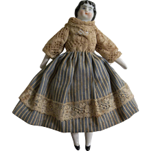"""Lovely 5-1/2"""" Imperfect China Head Dollhouse Doll"""