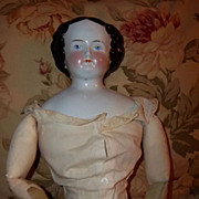 Large Antique China Head Doll Flat Top High Brow with Provenance c1858