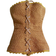 Stunning Antique Gold Brocade Doll Corset for Large French Fashion Doll - END OF SUMMER SALE!