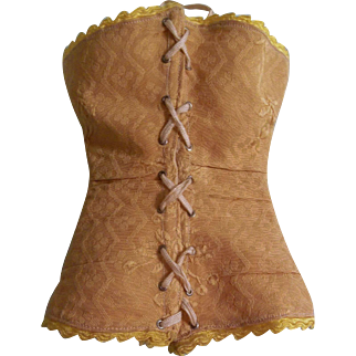 Stunning Antique Gold Brocade Doll Corset for Large French Fashion Doll