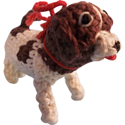 Adorable Vintage Crochet Dog for your Lucky Doll
