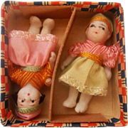 Two Tiny All Bisque Dolls in their Original Box