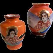 Two Miniature Vintage Japanese Porcelain Vases for your Dolls