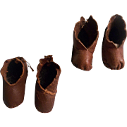 Adorable Brown Leather Shoes for your Special Doll - 2 Pair