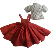 Cissette Outfit - Vintage Red Polished Jumper Skirt and newer White Cotton Blouse with Polka Dots