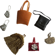 7 Vintage Doll Purses for Cissette, Ginny, Muffy, Barbie or any other Fashion Type Doll