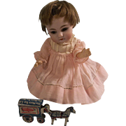 Miniature Vintage Tin Cracker Jack Horse and Cart Toy for your Small Doll