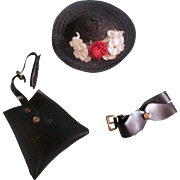 Vintage Hat, Purse and Belt for Cissette or other small doll