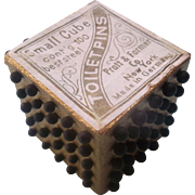 Early 1900s German Pin Cube for the Seamstress or Doll Dressmaker with 100 Round Steel Head Pins