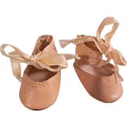 Nice Small Oil Cloth Shoes for a Composition or Bisque Head Doll