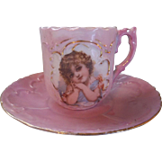 Victorian Child's or Large Doll's Pink Luster Tea Cup with Romantic, Dreamy, Angelic Girl