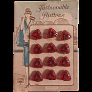 12 Vintage Czech Red Glass Triangular Buttons on Original Card