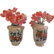 A Pretty Pair of Vintage Iridescent Hand Painted Miniature Vases for your Special Doll