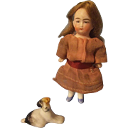"""Charming 3-1/4"""" All Bisque German Doll with Frozen Legs"""