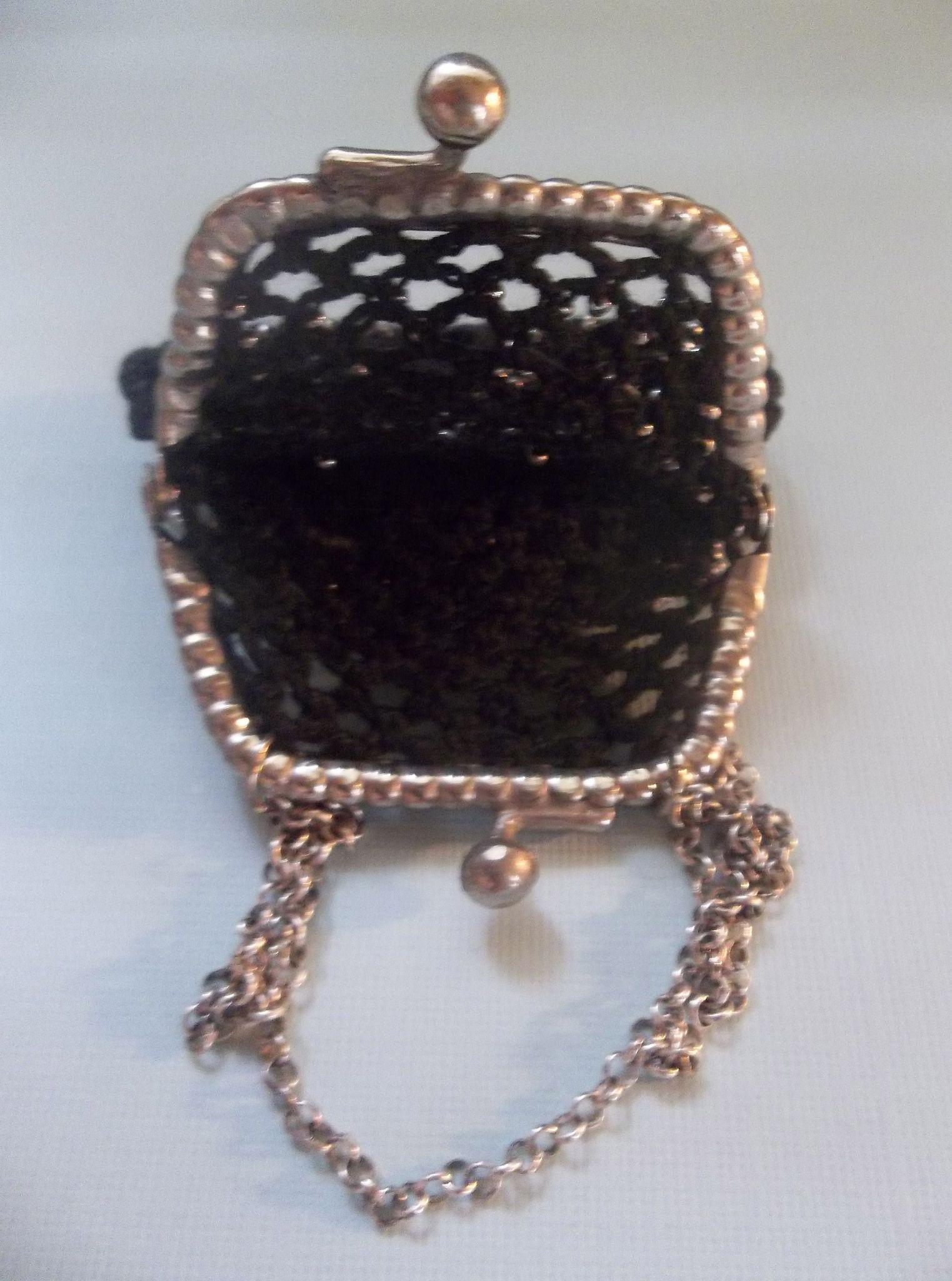 Beautiful Crochet Bags : Beautiful Vintage Black Crocheted Purse with Steel Cut Beads for FF ...
